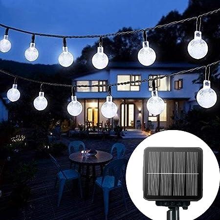 Solar String Lights Garden, 24 Ft 30 Waterproof Crystal Ball LED Fairy Lights Outdoor Solar Powered Lights, Decorative Lighting for Home, Garden, Party, Festival