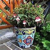 DHRH Adornos de jardín Macetas de Plantas de Flores, Planta Redonda Maceta de cerámica Macetero en Maceta Plantas al Aire Libre Mexicano Retro Verde Cuadrado Proceso Pintado