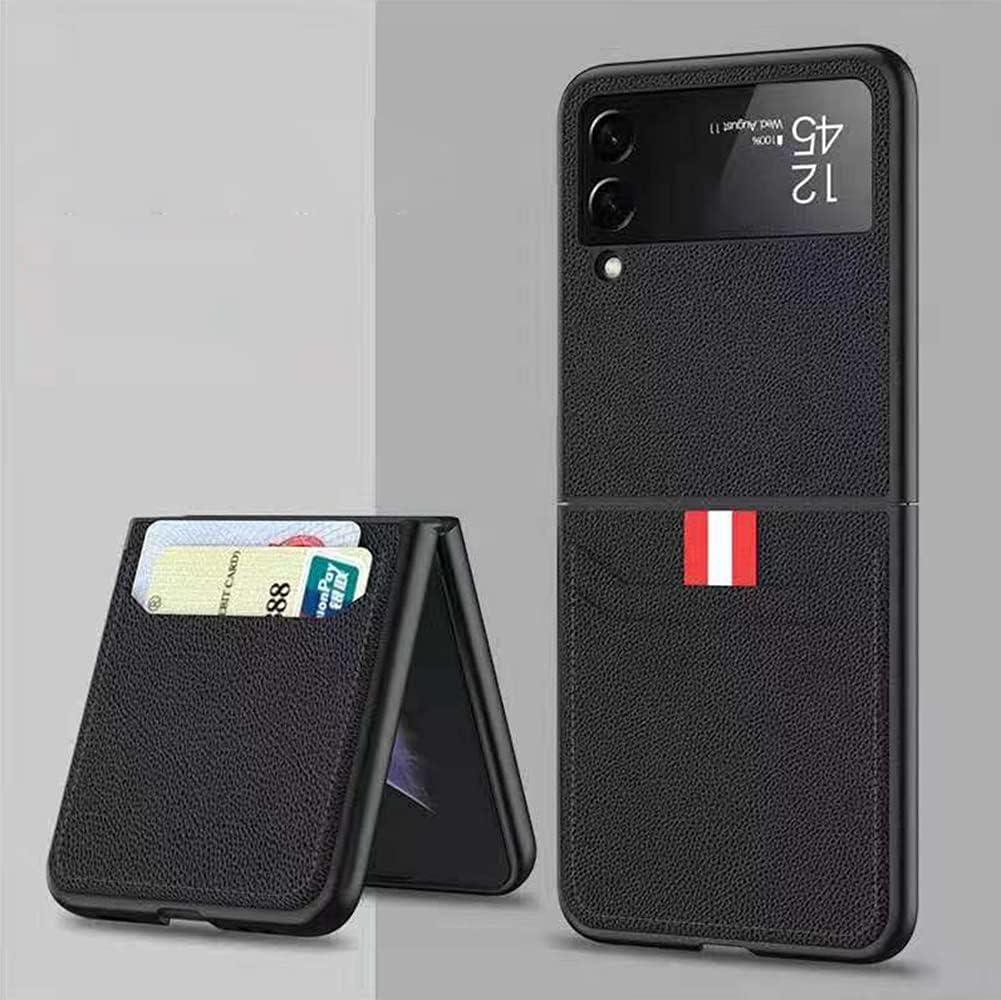 SHIEID Samsung Flip 3 Case, Galaxy Flip 3 5G Case with Leather Wallet Card Holder Phone Case Compatible with Samsung Galaxy Z Flip 3 5G, Black
