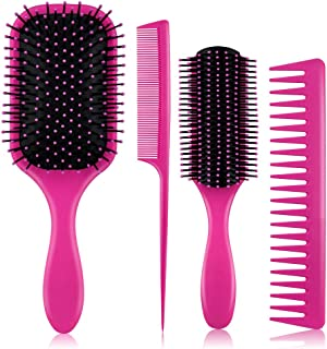 4Pcs Hair Brushes for Women - Hair Brush Comb Set for Women Great on Wet Or Dry Hair, No More Tangle Hairbrush for Long Thick Thin Curly Natural Hair (Pink)