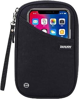 DEFWAY Passport Holder Travel Wallet - Waterproof RFID Blocking Credit Card Organizer Travel Document Bag Ticket Wallet with Strap for Men Women (Small Black)
