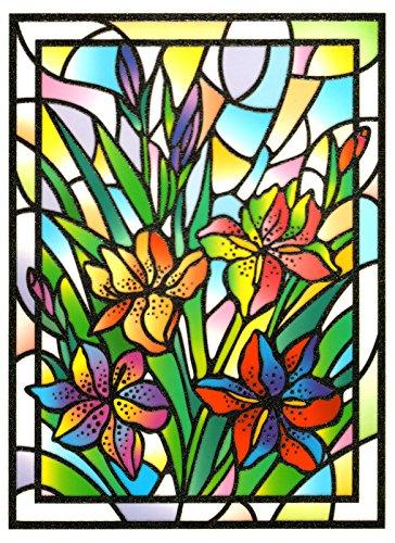 dpr. Fensterbild Tiffany Optik Lilie Blumen Fenstersticker Fensterdeko