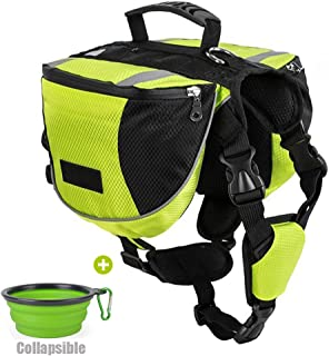 Lifeunion Polyester Dog Saddlebags Pack Hound Travel Camping Hiking Backpack Saddle Bag for Small Medium Large