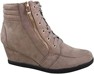 FZ-Peggy-56 Women's Fashion High Top Round Toe Lace Up Wedge Sneaker Shoes