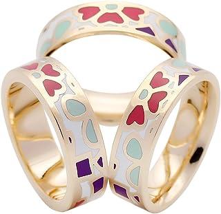 SHAN LI HUA Enamel Silk Scarves Ring Pin Women's Scarf Accessories 3 Rings Purple Black Blue Pink Green