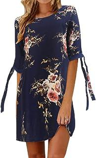 comprar comparacion VEMOW Faldas Mujer Vestido de Fiesta de cóctel con Mangas de Bowknot Estampado Floral para Mujer Vestido de Fiesta Informal