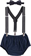 Child Baby Boys Adjustable Elastic Clip Y Back Suspenders Bowtie Outfit First Birthday Cake Smash Bloomers Clothes set