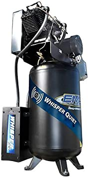 7.5 HP Quiet Air Compressor, 2-Stage, Vertical, 1 Phase, 80-Gallon, EMAX Yellow, Industrial Series, Model ES07V080V1 by EMAX Compressor: image