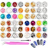 48pcs Nail Art Stickers & Decals Kit - Rose Gold Silver Nail Paillette