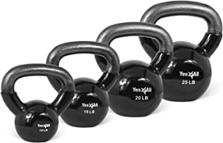 Yes4All Vinyl Coated Kettlebell Set of Weights - Strength Training Kettlebell Sets 25, 30, 35, 45, 60, 70, 105 lbs