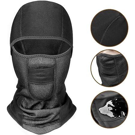 Capuay Sturmhaube Skimaske Gesichtsmaske Sturmmaske Helm Sturmhaube Atmungsaktiv Thermische Winddichte Wasserdichte Sturmhaube Männer Frauen Fahrrad Maske Motorrad Maske Schwarz Auto
