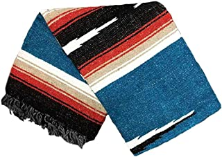 Open Road Goods Blue Mexican Yoga Blanket - Thick Navajo Diamond Serape Indigo with Tan/Khaki and Red/Maroon Stripes