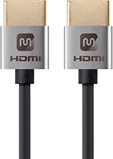 Monoprice HDMI High Speed Cable - 1 Feet - Silver, 4K@60Hz, HDR, 18Gbps, 36AWG, YUV 4:4:4 - Ultra Slim Series