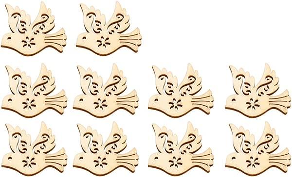 SUPVOX 10pcs Wooden Christmas Tree Decorations Ornaments Hanging Peace Dove Shape Wooden Discs Cutout