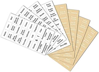Étiquettes autocollantes imprimées pour pots à épices, 8 feuilles/208 étiquettes de bouteille, adaptées pour la maison, la...
