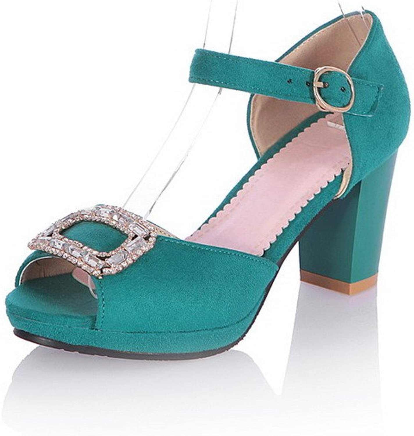 WeiPoot Women Peep Toe High Heel PU Frosted Solid Sandals with Rhinestones, bluee, 9.5 B(M) US