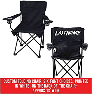 VictoryStore Outdoor Camping Chair - Custom Last Name Folding Chair- Black Camping Chair with Carry Bag (1)
