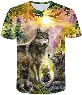 VPASS, Camiseta para Hombre, Verano Manga Corta Hombre Unisex 3D Impreso Lobo Moda Diario Slim Fit Casual T-Shirt Blusas Camisas Camiseta Jaspeada de Cuello Redondo Suave básica Camiseta