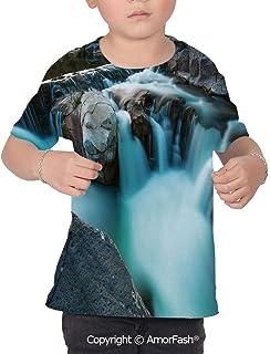 PUTIEN Landscape All Over Print T-Shirt,95/% Polyester,Childrens Short Sleeve T-ShirtPa
