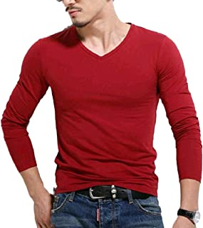 SportsX Men Long-Sleeve Fashion Solid-Colored Slim Fitting Tops T-Shirt Tees