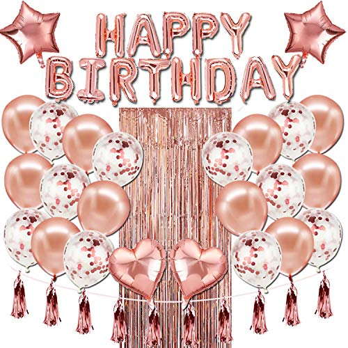 Happy Birthday Balloons Banner,Rose Gold Foil Birthday Decorations with Tassels and Ribbons for All Ages Birthday Party Supplies