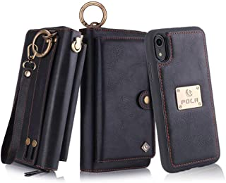 Petocase Compatible iPhone XR Wallet Case, Multi-Functional PU Leather Zip Wristlets Clutch Detachable Magnetic 13 Card Slots & 4 Cash Pocket Protection Back Cover for Apple iPhone 10R 6.1