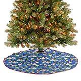 Homesonne Falda de árbol de Navidad con patrón tradicional Koi Pond Paves, varias flores, mariposas,...