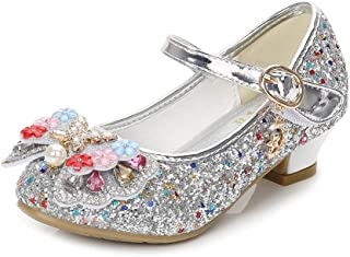 bc232200cb90 YING LAN Girls Cosplay Dress Wedding Party Shoes Glitter Sequins Low Heel  Mary Jane Princess Shoes