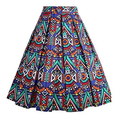DresseverBrand Damen Rockabilly Rock A Linie Retro Rock Midi Swing R?cke African-Print Medium