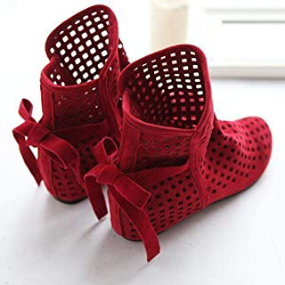 Flat Low Hidden Wedges Cutout Ankle Slip-On Boots, Fashion Ladies Daily Summer Boots Casual Shoes Cute Bootie,C,35
