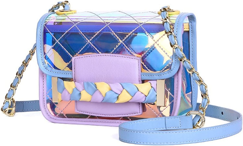 Sturdy Summer New Transparent Shoulder Messenger Portable Small Party Handbag Large Capacity (color   blueee)