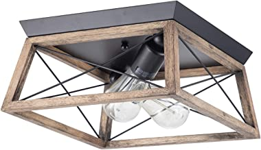 VILUXY Retro Industrial Rectangle Flush Mount Ceiling Light Fixture with Wood Shade for Hallway, Entryway, Passway, Dining Room, Bedroom, Balcony Living Room Two-Light
