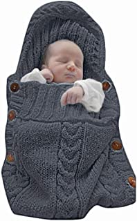 XMWEALTHY Newborn Baby Wrap Swaddle Blanket Knit Sleeping Bag Receiving Blankets Stroller Wrap for Baby(Black Grey) (0-6 Month)