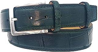 ESPERANTO Cintura in Coccodrillo Uomo Fodera vero cuoio nabuck 4 cm- 6 varianti