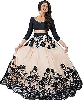827f5d0ea0a673 Bhurakhiya Women's Embroidered Black Semi Stitched Lehenga Choli With  Blouse Piece (Black_FreeSize_JK3)