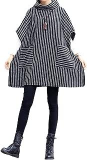 Mordenmiss Women's Turtleneck Sleeveless Vest Stripes Sweatshirt