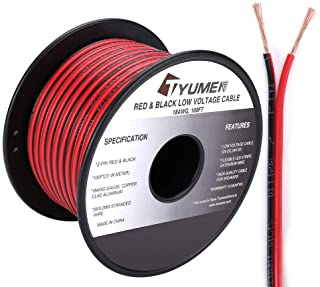 TYUMEN 100FT 18 Gauge 2pin 2 Color Red Black Cable Hookup Electrical Wire LED Strips Extension Wire 12V/24V DC Cable, 18AW...