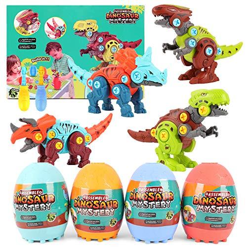 Herefun Dinosauri Giocattolo, DIY Dinosauro Costruzioni di Giocattoli con Cacciavite, Dinosaur Toys STEM Costruzioni Giocattolo, Giocattolo Creativi Compleanno Pasqua Regalo per Bambin 3-8 Anni (A)