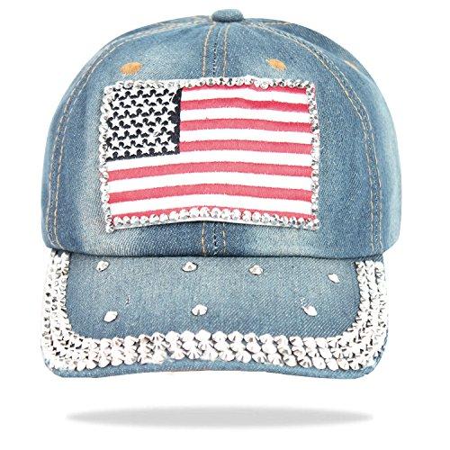 Glamexx24 Topstyle jeans cap dans un style vintage avec baseball étoiles et strass