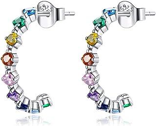 GDDX Orecchini a cerchio cuore arcobaleno in argento sterling cartilagine simpatici orecchini Huggie gioielli di compleann...