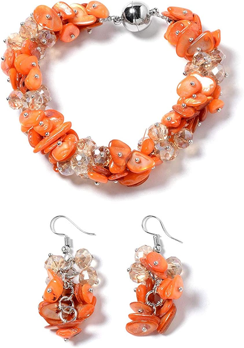 Shop LC Shell Beads Earrings Magnetic Clasp Bracelet Jewellery Gifts Sets for Women 8