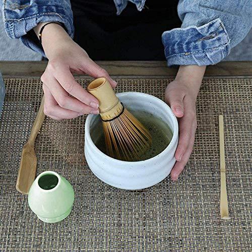 HCYY Juego de batidores de te Matcha Cucharita de Almacenamiento Delicado Soporte para batidor Profundo Ceremonia del te de bambu Juego de Pedidos de te Accesorios, Azul