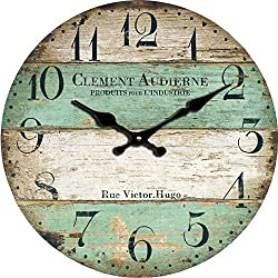 Grazing 12 Vintage Blue Green Yellow Colorful Stripe Design Rustic Country Tuscan Style Wooden Decorative Round Wall Clock (Ocean) (Victor)