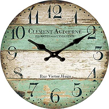 Grazing 12  Vintage Green and Brown Colorful Stripes Design Rustic Country Tuscan Style,Arabic Numerals,Home Decorative Wooden Round Wall Clock (Victor)