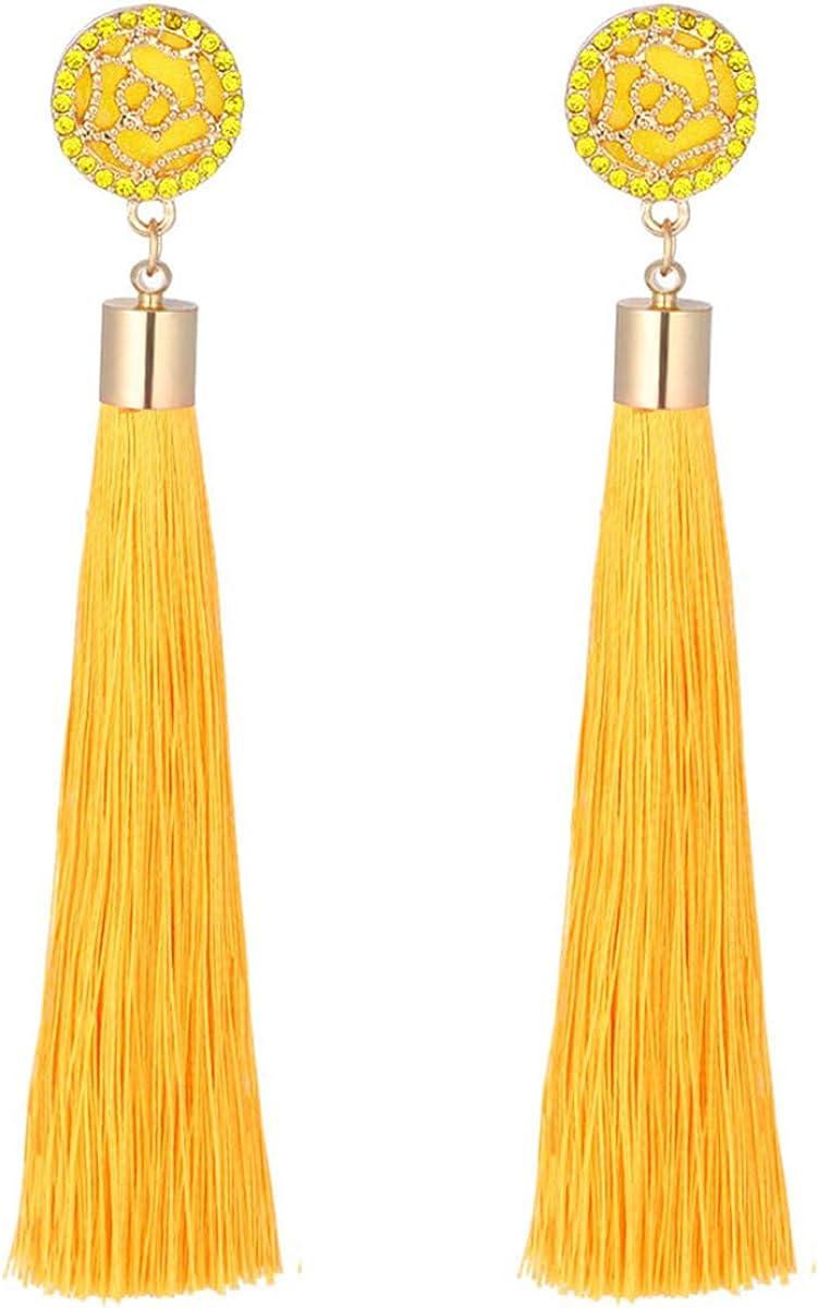 Zealmer Rose Flower Long Thread Tassel Drop Earrings for Women, Boho Tassel Statement Earrings for Women Dangle
