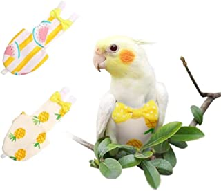 KAMA BRIDAL Bird Diaper Parrot Washable Diaper Nappies for Parakeet Cockatiel Mini Macaw Budgie Canary Flight Suit 2 Pcs