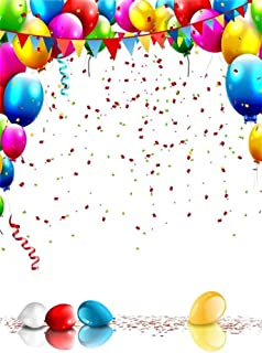 AOFOTO 4x6ft Happy Birthday Background Colorful Balloons Confetti Photography Backdrop Kid Baby Boy Girl Infant Portrait Photo Studio Props Party Decoration Bunting Pennant Banner Vinyl Wallpaper