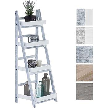 Estantería Escalera Dorin con 4 Estantes I Estantería Plegable en Estilo Rústico I Estantería Decorativa de Madera, Color: Blanco/Gris: Amazon.es: Hogar