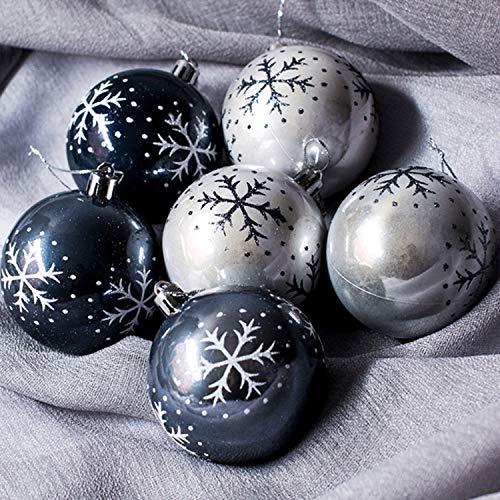 ZHGHS Decoración de Navidad 6 piezas copo de nieve bola de Navidad colgantes para árbol de Navidad, decoración del hogar, centro comercial, fiesta, 8 cm de diámetro decoraciones