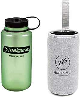 Nortwill - Nalgene Water Bottle Set - Tritan Wide Mouth 32oz Water Bottle BPA-Free Travel Bottles - with Insulated Bottle Sleeve